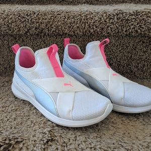 Puma Shoes - Puma pink and white slip on sneakers women 6.5